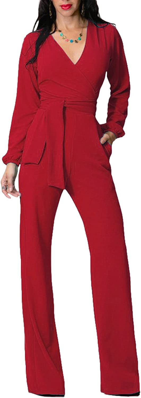 Engood Women's Elegant Casual Losse Long WideLeg Jumpsuits Rompers