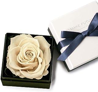 Makefuture Diamond Rose 9 プリザーブドフラワー 花 プロポーズ 薔薇 一輪 フラワーボックス プラチナホワイト