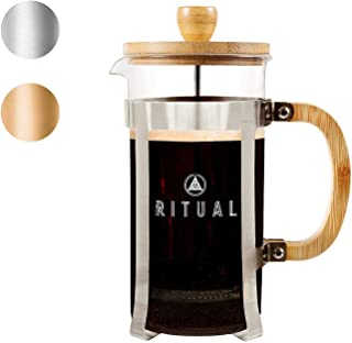 Ritual French Coffee Press (New 2019 Version), Bamboo Wood, Borosilicate Glass, and Stainless Steel, Coffee & Tea Maker with Bonus Filter 36oz/1000ml