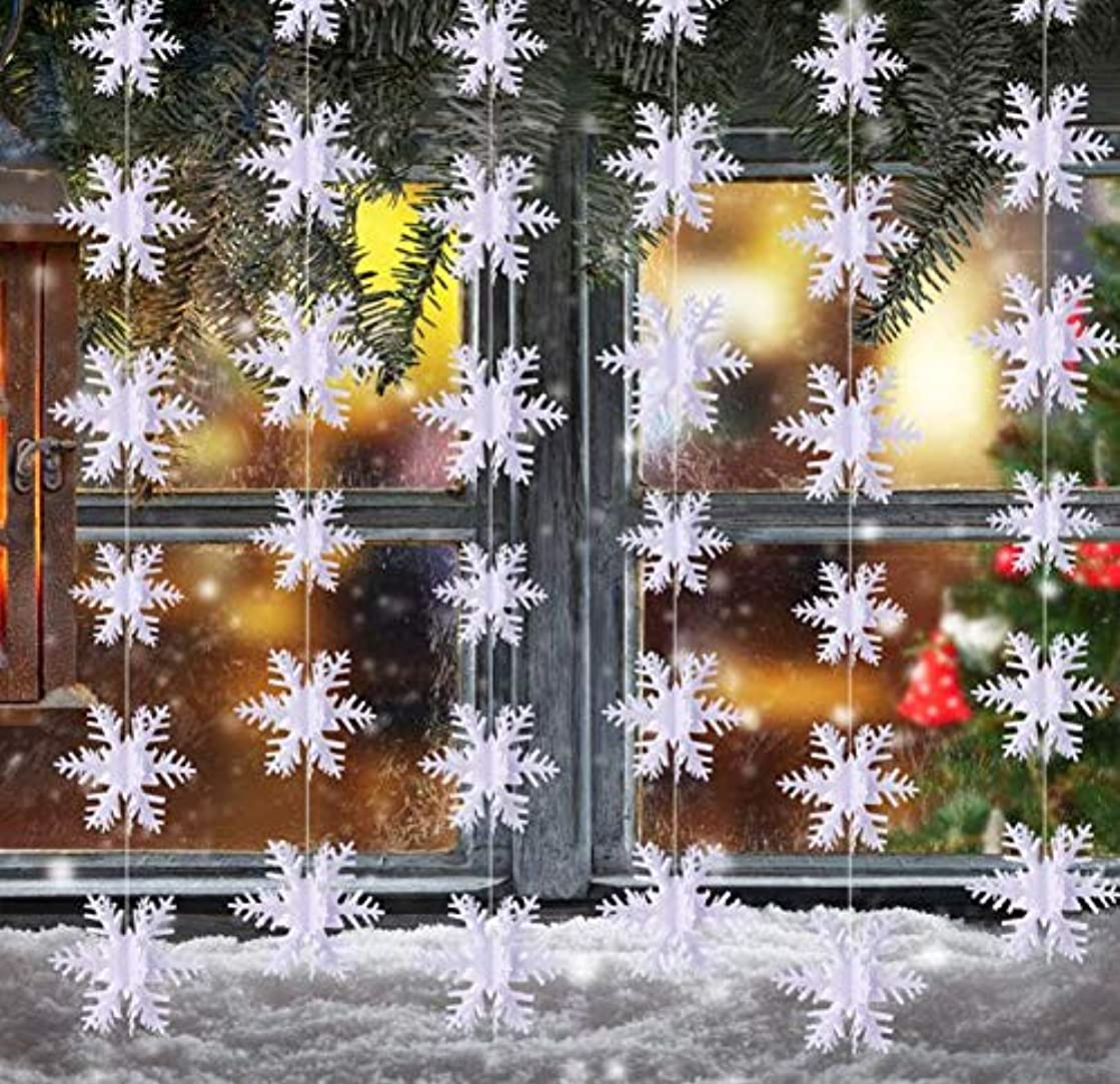 3D Snowflake Hanging Bunting Xmas Banner Garland Christmas Party Decoration Set of 2 (10 Feet each) Total 20 feet. by YunKo