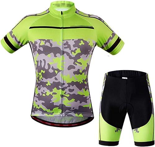 Maillot de vélo de vélo Veste en jersey de cyclisme rembourrée for adulte à séchage rapide, vêteHommests de vélo à hommeches courtes, vêteHommests de plein air avec courte d'équitation, collant, pantalon évacu