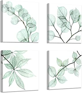 Natural Leaf Artwork Floral Pictures: Twig Graphic Art Print on Canvas for Bathroom Wall ( 12
