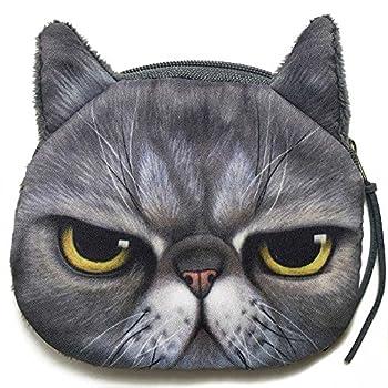 Grumpy Cat Face Mini Coin Wallet | Angry Kitty Head Zipper Closure Purse