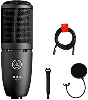 AKG P120 Cardioid Condenser Microphone (Black) with XLR-XLR Cable, Pop Filter & 10-Pack Straps Bundle