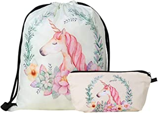 Two-Piece Unicorn Tote Bag Set for Girls with Drawstring Backpack and Zipper Bag