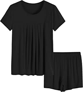Women's Summer Pleated Top Shorts Pajamas Set with Pockets