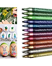 Set of 12 Acrylic Paint Pens, Metallic Colors Rock Stone Ceramic Glass Wood Fabric Wall Painting Markers, Art Supplies Kids Adults Drawing Colouring Marker, Water Based for Artist Canvas Arts Crafts