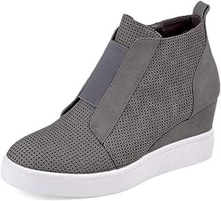DEARWEN Women's Heel Platform Casual Sneakers Zipper Wedge High Top Sports Shoes