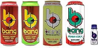 VPX Bang Energy Drink Variety - Georgia Peach Sweet Tea, Lemon Drop Sweet Tea, Pina Colada, Miami Cola - 16 ounce (Pack of 8) + Bang Bangster Shot