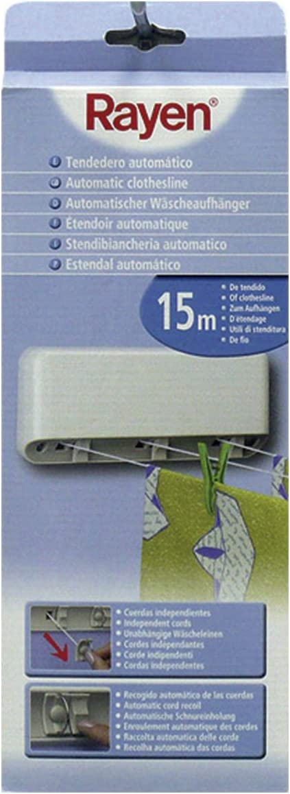 44X10X6 ABS White,Grey polyester Rayen Retractable Washing line