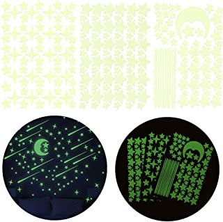PrettyFNT Glow in Dark Stars and Moon Wall Stickers, Glowing Stars for Ceiling and Wall Decals, Perfect for Kids Bedroom Living Room or Birthday Party, Total 206 PCS