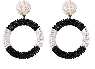 BEST LADY Statement Beaded Hoop Earrings - Fashion...