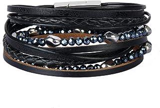 Jeilwiy Womens Leather Boho Bracelets Gorgeous Rhinestone Bracelet Handmade Jewelry for Teens Girls, Mother, Sister, Daughter
