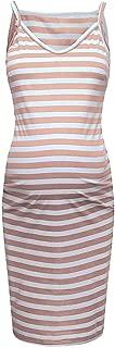 LEXUPA Maternity Sleeveless Striped Print Breastfeeding Sundress Pregnancy Dress