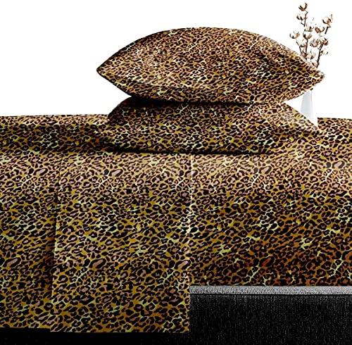 SGI bedding 600 Thread Count Super Soft Cotton Queen Size Bed Sheets Leopard Print…