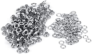 Eyelets, 100pcs 5mm Hole Metal Eyelets Grommet for Leather Craft Card Decoration(Silver)