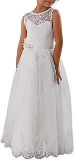 Abaowedding Lace Embellished A-Line Sleeveless Girls Wedding Party Dresses