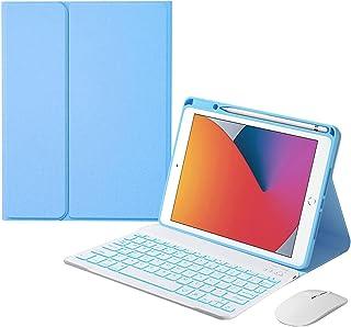 Keyboard Case for Ipad 8th Generation (2020)/7th Gen (2019) 10.2 Inch, Detachable Wireless Keyboard with Pencil Holder, Ke...