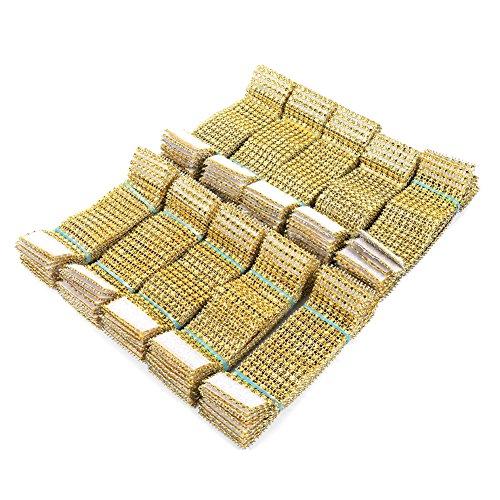 100 piezas de oro Rhinestone anillos de servilleta 8 filas
