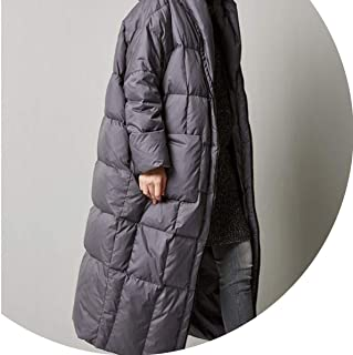 Women Casual Loose Cocoon Coat Thick Long Hooded Duck Down Jacket Warm Outwear