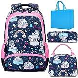 Unicorno Zaino Scuola Elementare Impermeabile Zaini Bambino Sacchetti di Scuola Per Ragazze leggero campeggio borse casual Daypacks per adolescenti studenti 3 pezzi