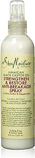 SheaMoisture Anti-Breakage Spray, Jamaican Black Castor Oil Heat Protectant with Shea Butter, 8 Fl Oz
