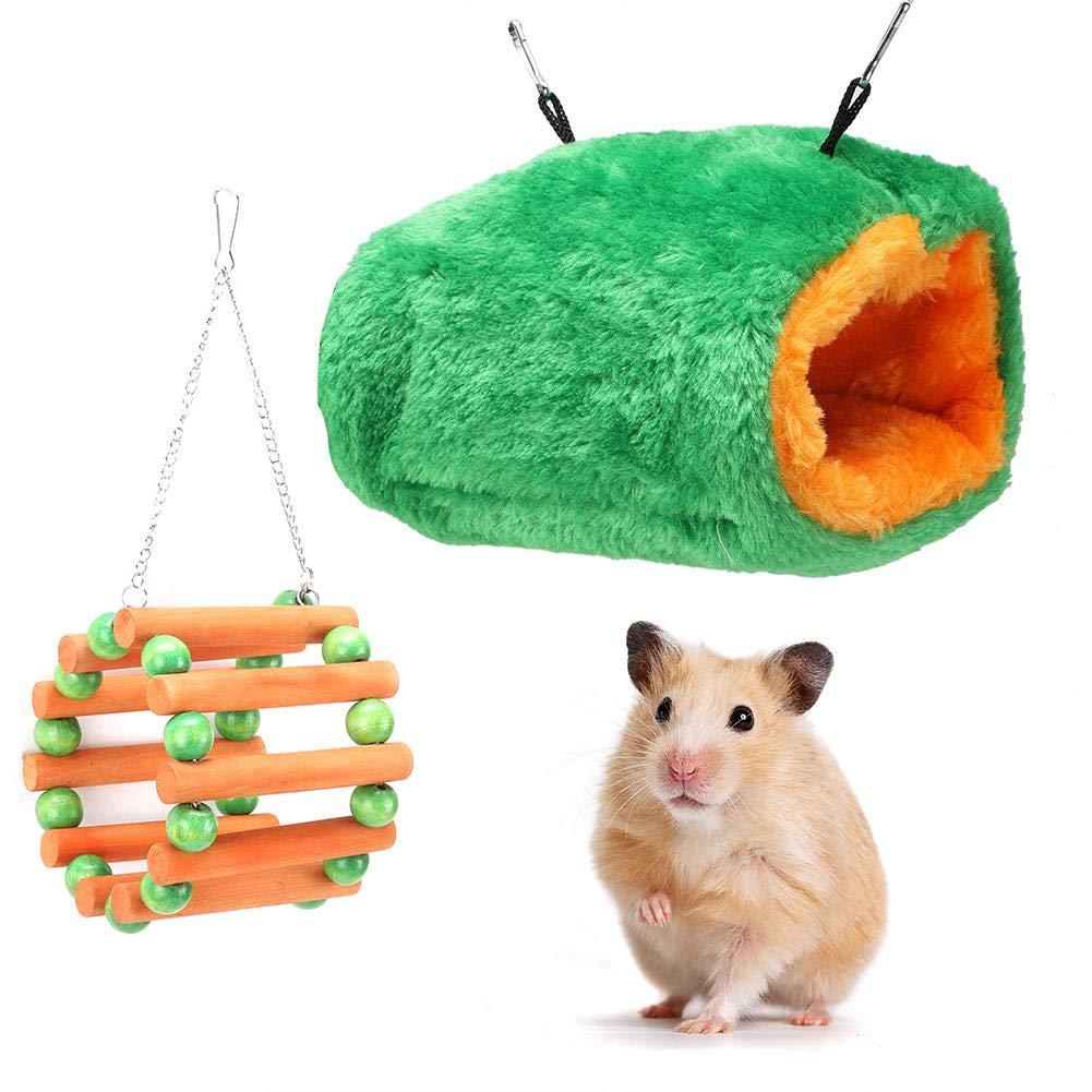 Hamaca para mascotas, hámster pequeño para mascotas Nido de algodón de juguete con columpio de noria de madera para el invierno Mantenga el nido caliente para el planeador del azúcar del hámster: