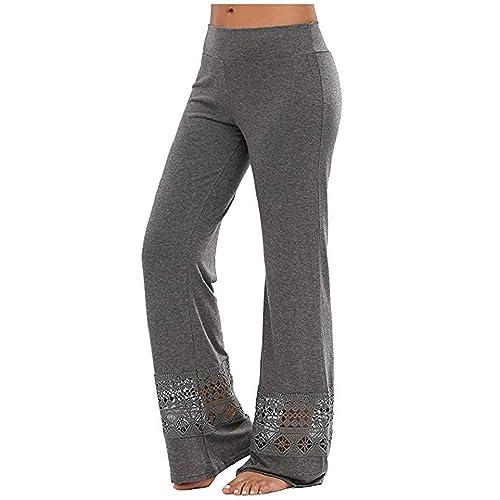 443defe239 Women's Comfy Lace Hollow Patchwork High Waist Wide Leg Long Palazzo Pants  Grey L Size