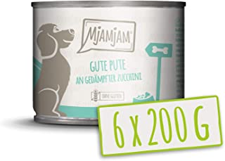 MjAMjAM - Pienso acuoso para Perros - Pavo de Calidad con arroz cocido y calabacín al Vapor - Natural - 6 x 200 g