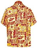 LA LEELA Super Soft Casuali Tunica della Camicia da Cerimonia Uomo Hawaiano Rossi 511 X-Sm...