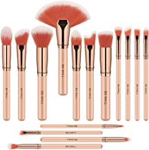 BS-MALL Makeup Brush Set 15 Pcs Premium Synthetic Foundation Powder Concealers Eye shadows Blush Makeup Brushes Champagne Gold Cosmetic Brushes(Pink)