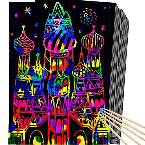 MISS FANTASY Scratch Art for Kids 50 Pcs...