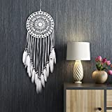 DEWEL Dream Catcher Handmade White Feather Dreamcatchers for Wall Hanging, Home Car Decoration Ornament Decor Ornament Craft Gift