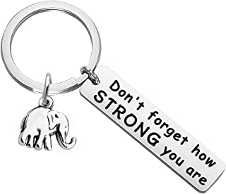 MYOSPARK Elephant Keychain Don't Forget How Strong You Are Inspirational Gift For Graduate Elephant Lovers