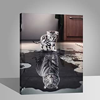 LIUDAO Paint by Number Painting Kit for Kids Adults with 3 Brushes Cat and Tiger 16x20 Inch with Wooden Frame