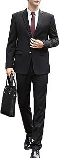 スーツ メンズ 上下セット 2つボタン ビジネススーツ スリム 黒 大きいサイズ ォッシャブル機能 おしゃれ 防しわ イージーケア 無地 喪服 着心地良い オールシーズン対応 結婚式 就職 通勤 卒業 式 Men's Suit
