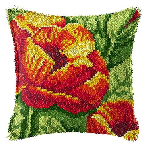 QAZWSX Crochet Kit Werkzeuge Handarbeit Unfertigte Häkeln, DIY Blumen Theme Teppichkissen Häkeln Kissenbezug Teppich, Latch Haken Kits, for Kinder/Erwachsene Anfänger handgefertigt