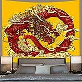 YINGHQ Tapisserie Japanischer Stil Phoenix Tiger Tapisserie Psychedelische Tier Drachen Tapisserien Wandbehang Hintergr& Mythen Tagesdecken