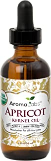 Apricot Kernel Oil, USDA Certified Organic,100% Pure & Natural, Cold Pressed, Virgin, Unrefined Virgin, Rich in vitamin A & E. in Amber Glass Bottle w/Glass Eye Dropper � 2 oz (56 ml)