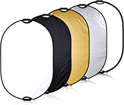 Neewer 5 in 1 Portable Multi Reflector Disk Camera Lighting Reflector Panel 35.4x47.2 inches/90x120 Centimeters with Handle Grip and Carrying Case for Photpgraphy, Gold Silver White Black Translucent