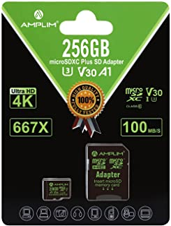 256GB Micro SD Card Plus Adapter. Amplim MicroSD SDXC Memory Card Pack (100MB/s 667X V30 A1 Class 10 U3 UHS-I) 256 GB Micr...
