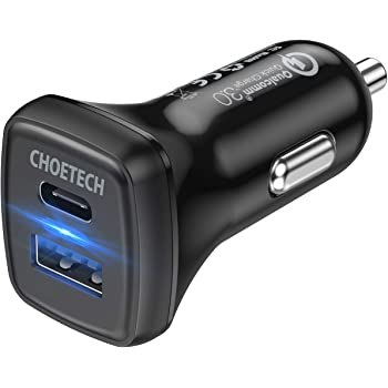 CHOETECH USB C Car Charger, 36W 2-Port Fast Car Charger, 18W Power Delivery Quick Charge 3.0 Type C Car Adapter Compatible iPhone 11/11 Pro/11 Pro Max/XS Max/SE, Galaxy Note 10/S10, Pixel 4, iPad Pro