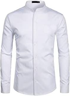 ZEROYAA Mens Hipster Solid Slim Fit Long Sleeve Mandarin Collar Dress Shirts
