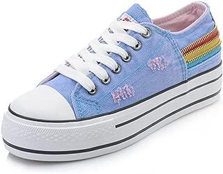 lcky Colorblock Low Canvas Shoes Chain Color Mixed Sports Shoes Platform Women's(Blue 40/9.5 B(M) US Women)