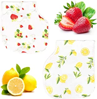 Bambi Bamboo Muslin Burp Cloth Bib Set - Lead Free Snaps, Adjustable, Super Absorbent, Soft - 2 Pack of Strawberry Lemon Prints - Unisex Baby Registry Shower Gift for Boys, Girls