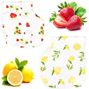 Bambi Bamboo Muslin Burp Cloth Bib Set - Lead Free Snaps, Adjustable, Super Absorbent, Soft - 2 Pack of Strawberry Lemon Prints - Unisex Baby Registry Shower Gift for Boys, Girls