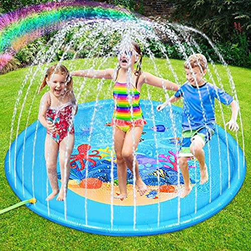 Nabance 170CM Tapis de Jet d'eau, Durable Tapis d'arrosage PVC Tapis de Pulvérisation d'eau D'éclaboussure d'eau Eau Piscine, pour l'été Familiales Enfants Fête Jardin