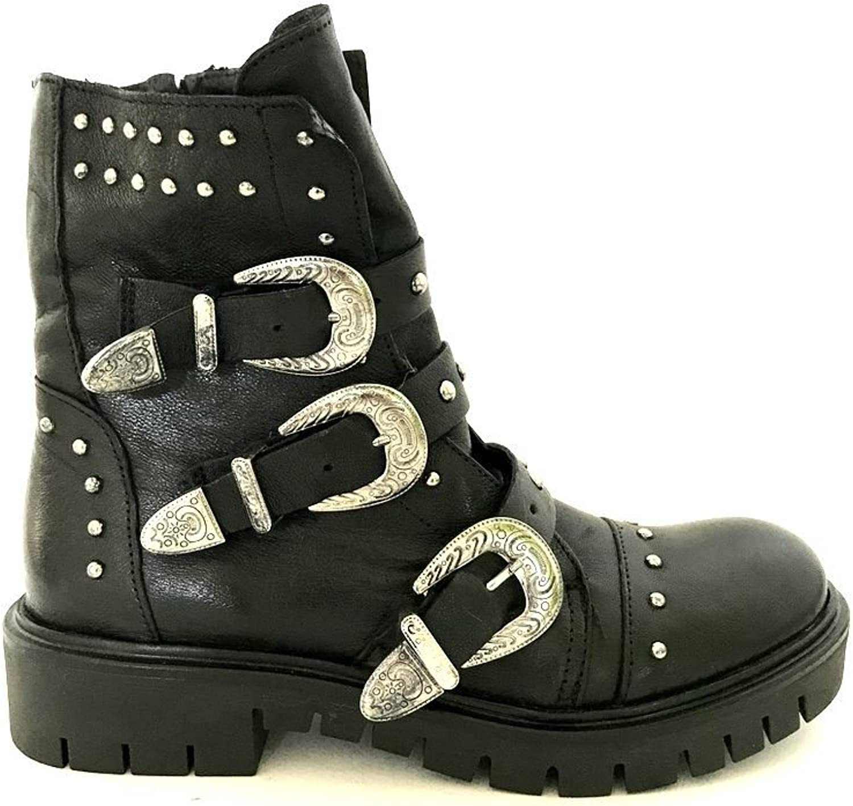 Studded black leather boots amphibians Divine Follie buckles MainApps
