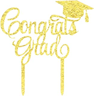 Gold Congrats Grad Cake Topper-Acrylic Graduation Cake Toppers 2020-Graduation Cake Decorations-High School Graduation, College Graduate Cake Topper