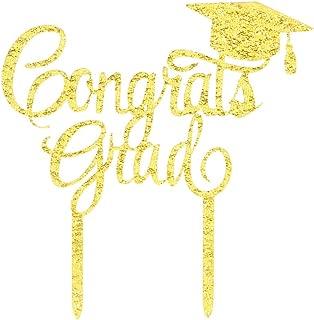 Gold Congrats Grad Cake Topper-Acrylic Graduation Cake Toppers 2019-Graduation Cake Decorations-High School Graduation, College Graduate Cake Topper